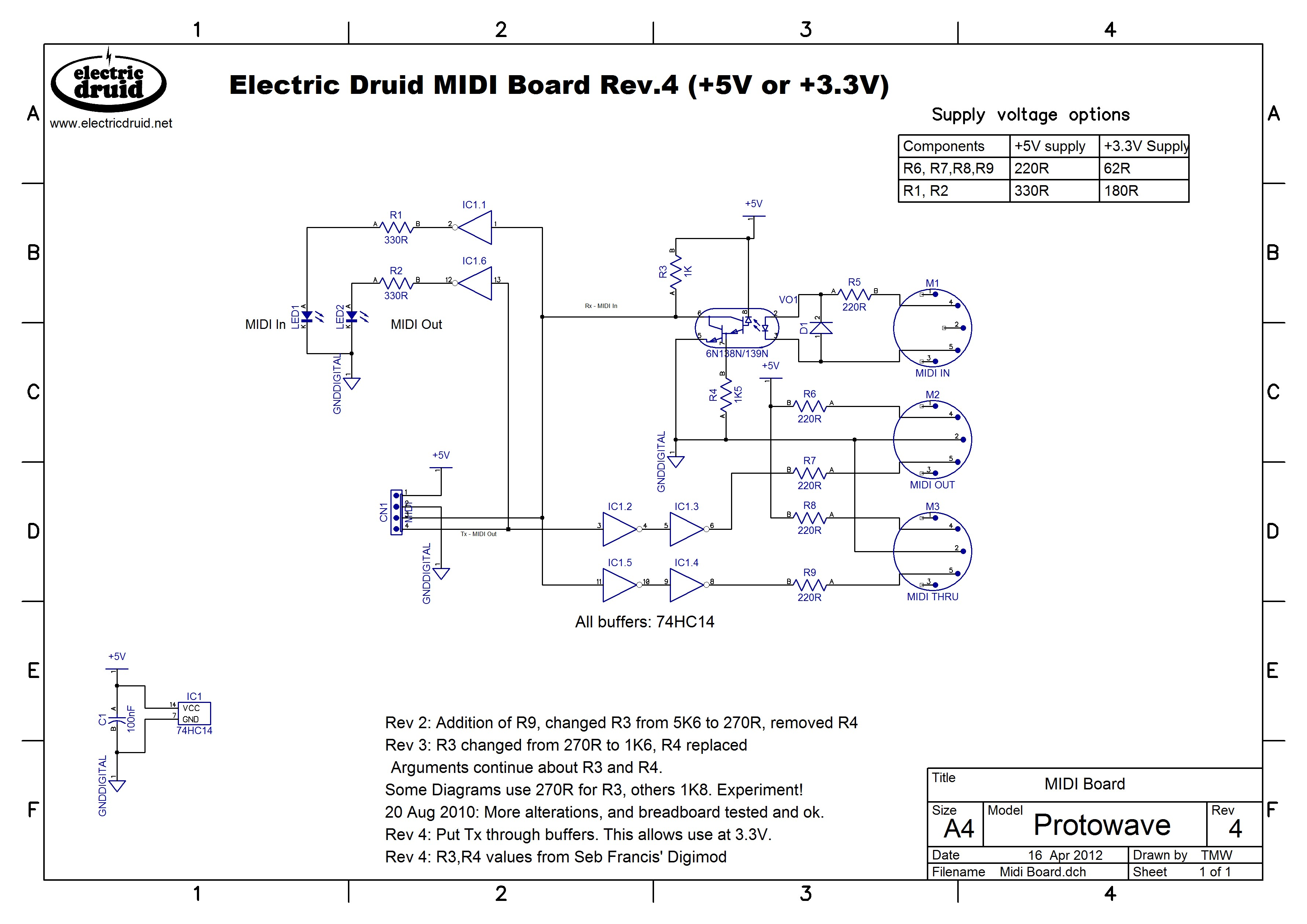 MIDI PCB schematic diagram