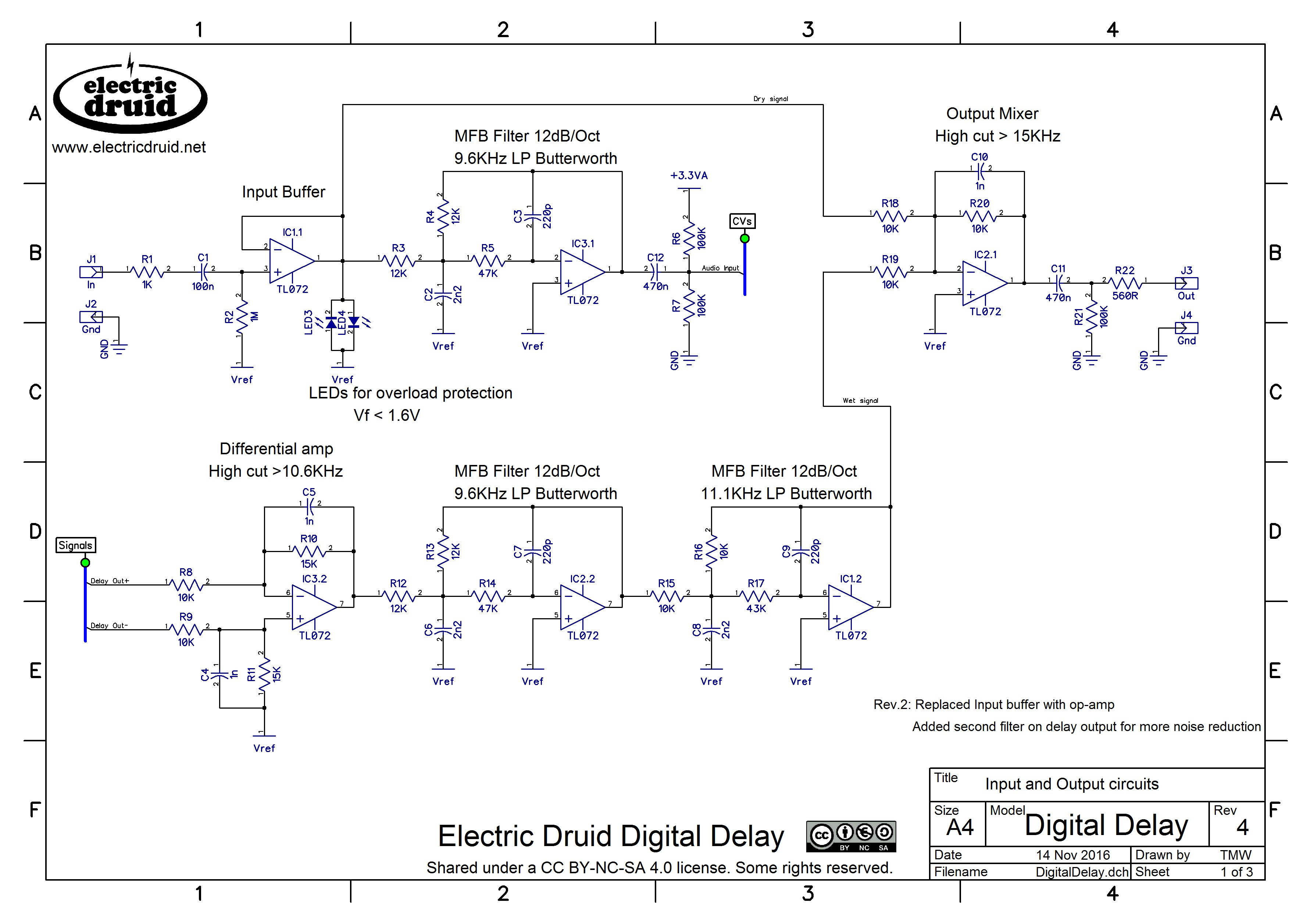 Diy 4 Second Digital Delay Electric Druid Audio Tone Generator Circuit Digidelay Schematic Pg1