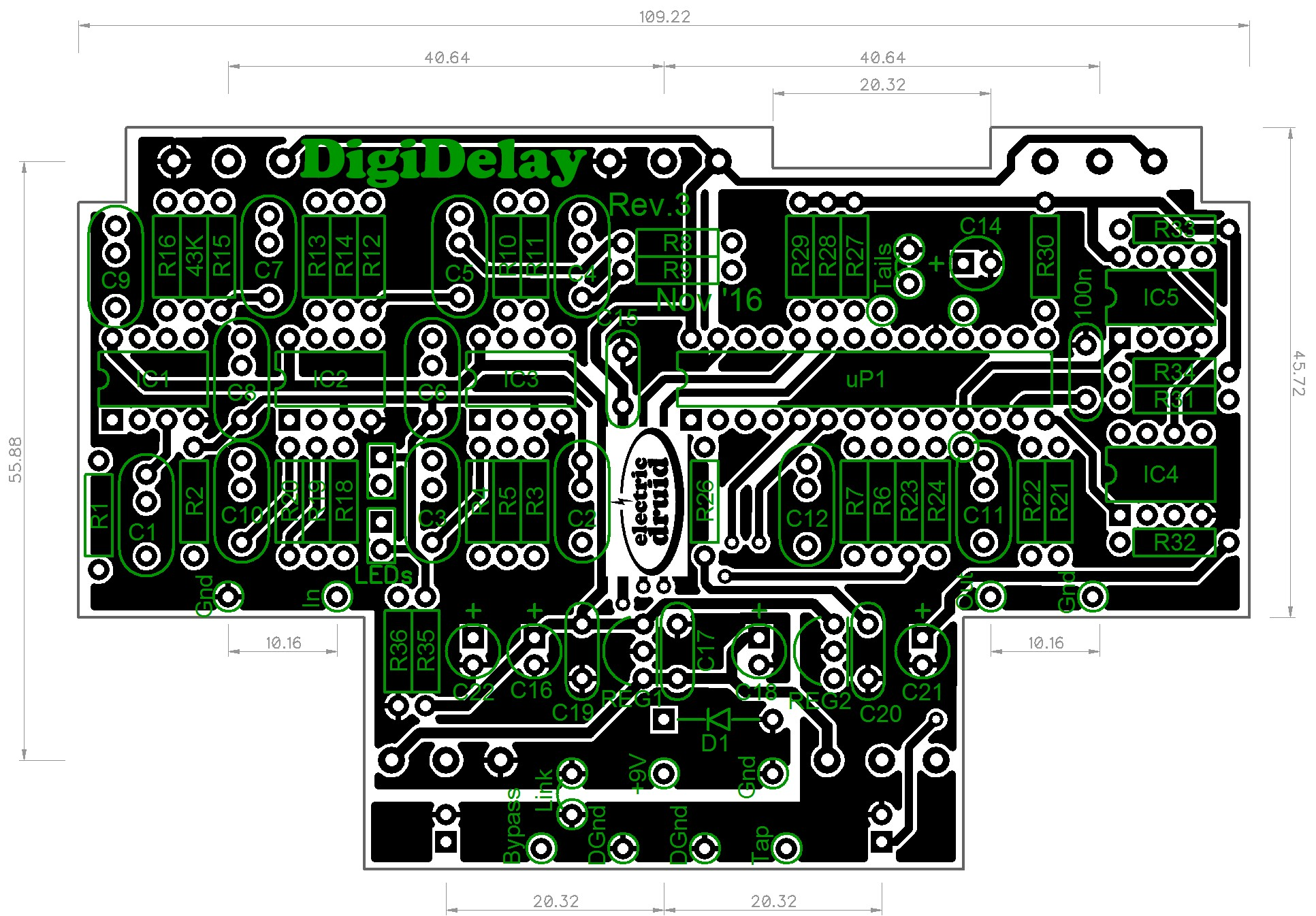 Diy 4 Second Digital Delay Electric Druid Top View Of The Completed Circuit Board Waiting To Be Mounted On Rev3 Pcb Reference Designators