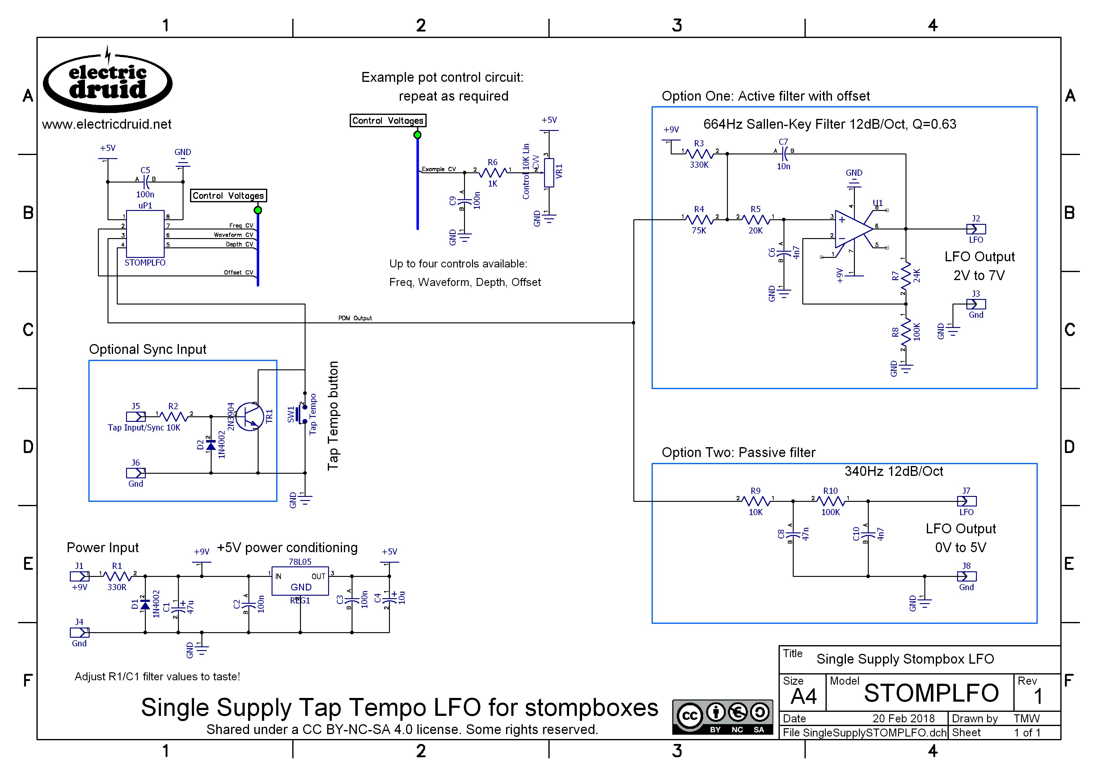 Electric Druid Chips The Next Generation 5v Power Supply Wiring Diagram Stomplfo 8 Pin Tap Tempo Lfo Circuit