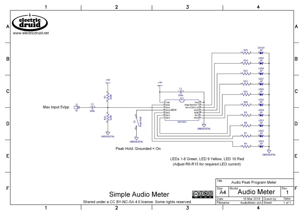 An LED bargraph audio level display   Electric Druid What Does Schematic Mean on